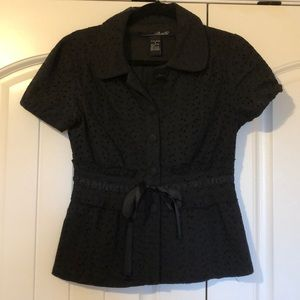 Willi Smith Black Eyelet Blouse Small